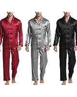Michael Stevenson New Arrival MenS Stain Silk Pajamas Set Modern Style Silk Nightgown Men Satin Sleepwear