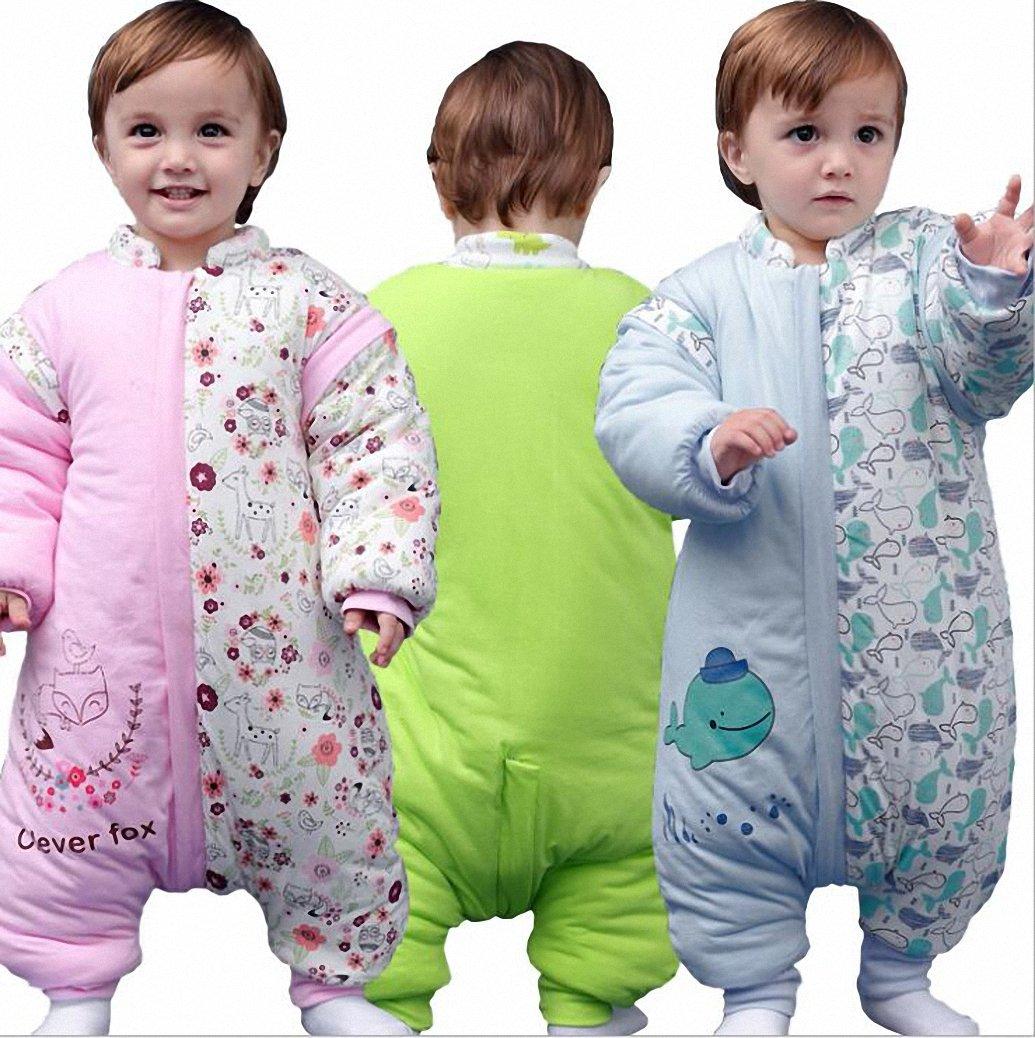 Happy Dream saco para bebé invierno manga larga - Garcon - niña pijama niños Confort combinación de patas. verde Verde dinosaurio Talla:M:80-90CM (12- 24 ...