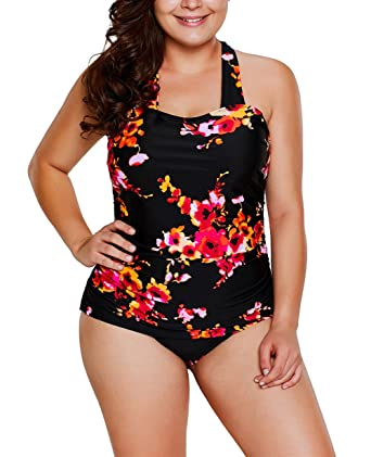 a8ee9c694945a Just for Plus Women s Black Floral Print Halter One-Piece Bathing Suit Plus  Size Swimwear Swimsuit at Amazon Women s Clothing store