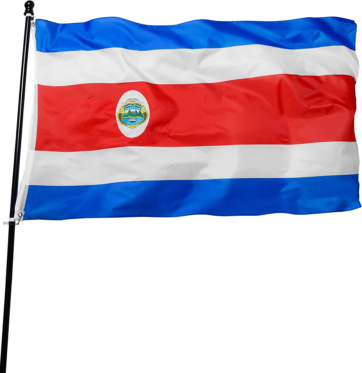 DANF Costa Rica Flag 3x5 Foot Polyester Costa Rican National Flags Polyester with Brass Grommets 3 X 5 Ft