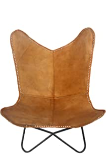Superieur Classic Genuine Tan Leather Arm Chair Cover Star Butterfly Leather Chair  Home Decor   Only Cover