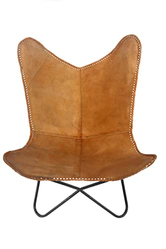 Charmant Classic Genuine Tan Leather Arm Chair Cover Star Butterfly Leather Chair  Home Decor   Only Cover