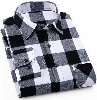 NOBRAND Camisa de Franela de algodón Cepillado para Hombre, con ...
