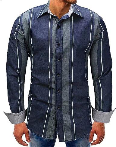 Blusa De Rayas A Rayas Manga Larga para Moda Hombre Blusa De Rayas A Rayas Blusa Camisa De Corte Slim A La Vintage: Amazon.es: Ropa y accesorios