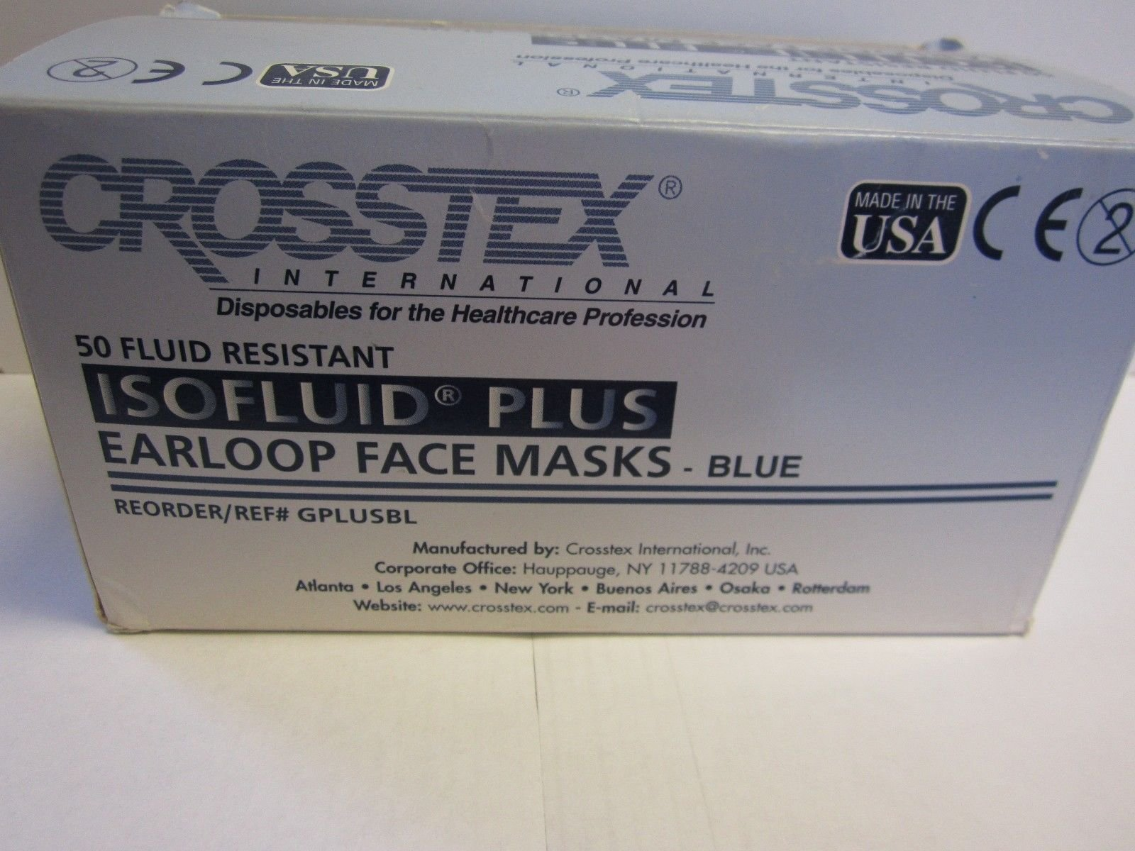 Crosstex Gplusbl Isofluid Plus Earloop Masks Blue by Crosstex
