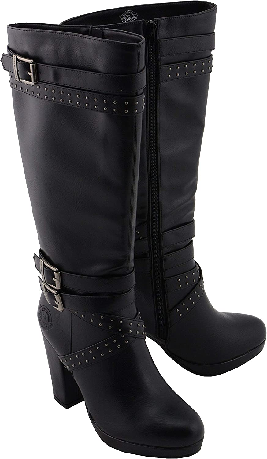 Studded Strap Boots with Platform Heel