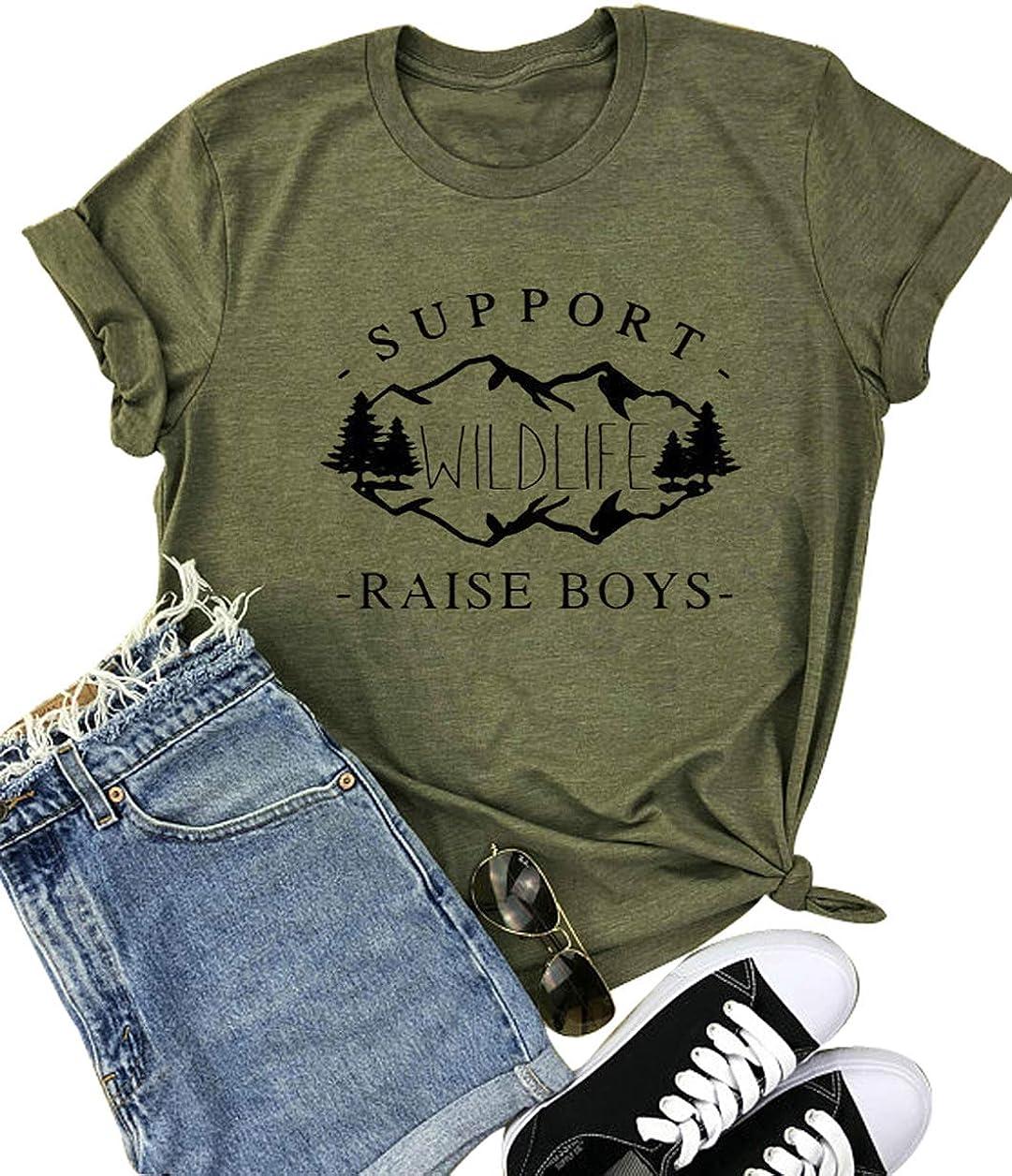 Support Wildlife Raise Boys T Shirt for Women Mom of Boys Shirts Nature Hiking Adventure Hiking Travel Tshirt