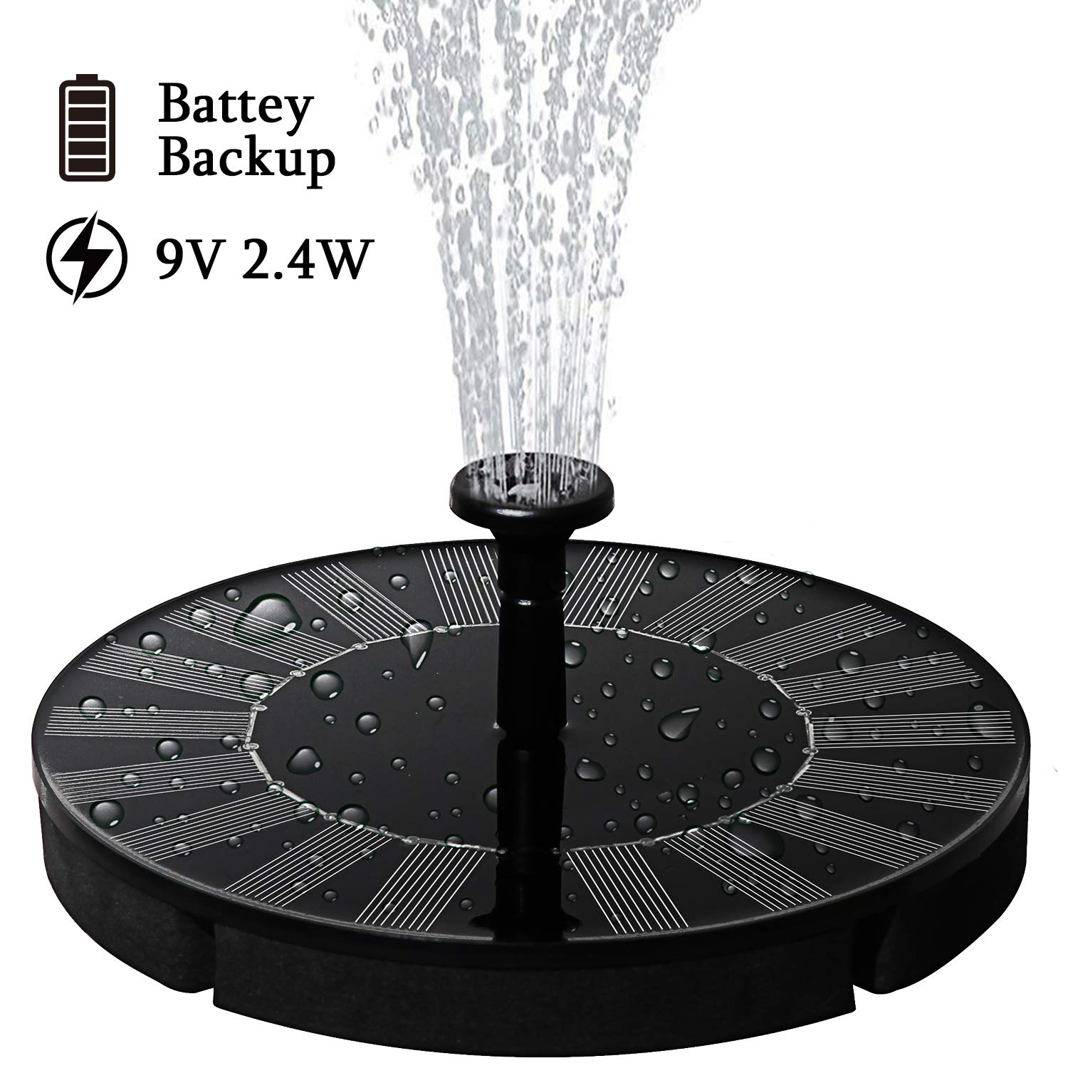 lailme Solar Fountain,Solar Powered Fountain Pump for Bird Bath, New Model Solar Water Fountain Pump 9V 2.4W with Battery Back,4 Different Spray Pattern Heads for Pool, Garden, Pond, Fish by lailme
