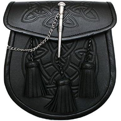 Amazon Tartanista Men's Celtic Pattern 60 Tassels Black Kilt Awesome Sporran Pattern