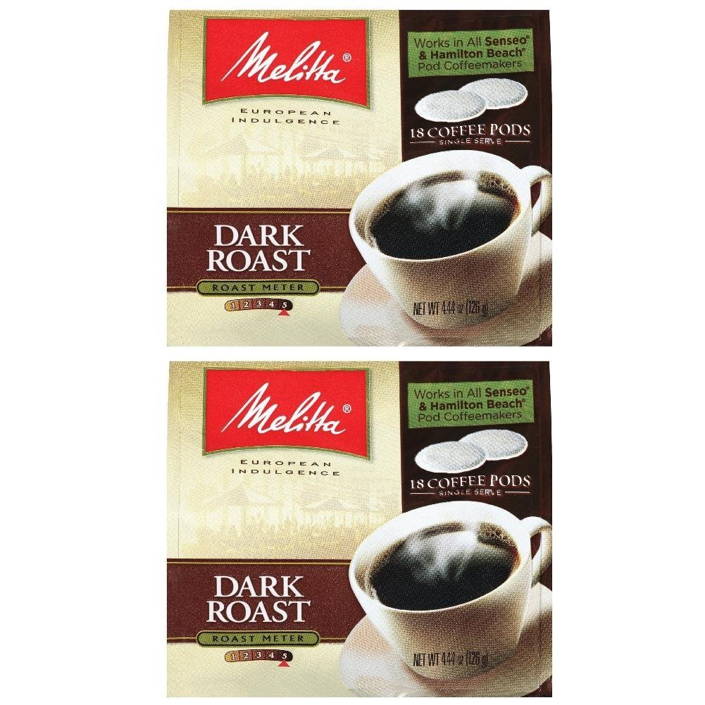 Melitta Dark Roast Soft Pod Pack 18 Count (Pack of 2)