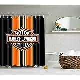 BARTORI Shower Curtain Nice for Decorative with 12pcs Hooks Motor Cycles Harley-Davidson Orange and Black Background Waterpro