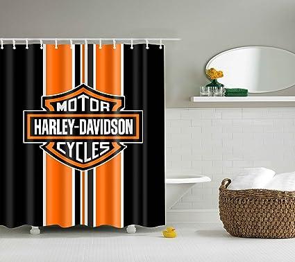 BARTORI Shower Curtain Nice For Decorative With 12pcs Hooks Motor Cycles Harley Davidson Orange And