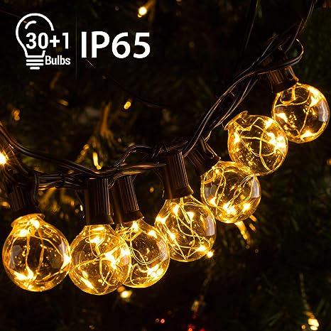 Quntis IP65 11,7M Guirnalda Luces Exterior G40 30+1 Bombillas E12 3V Súper