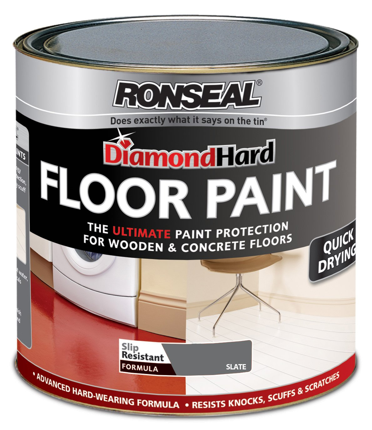 Ronseal Dhfpsl25l 2 5l Diamond Hard Floor Paint Slate Amazon Co