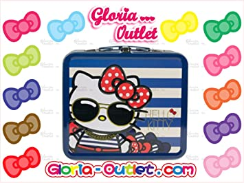 57627e0574 Amazon.com   Hello Kitty Glasses Nautical Metal Tin Lunch Box Loungefly  Sanrio   Cosmetic Tote Bags   Beauty