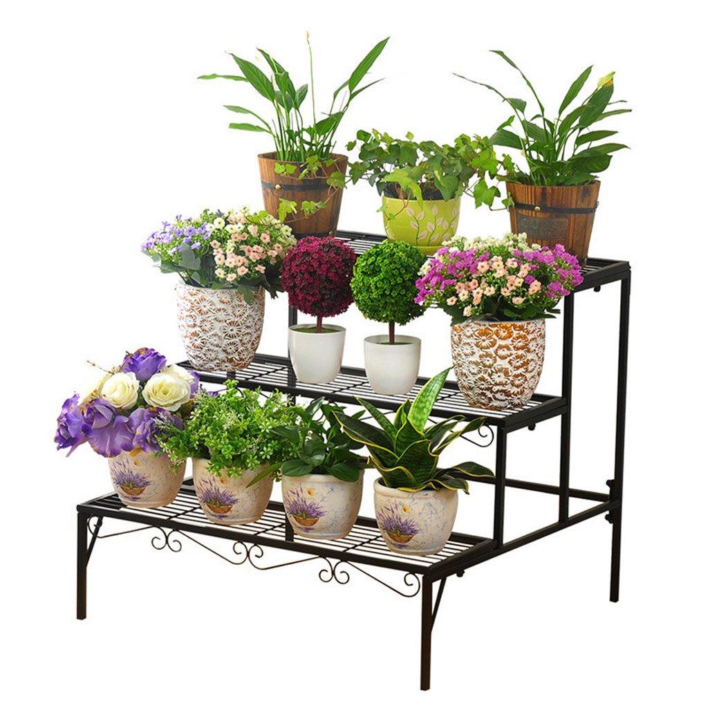 CJH Schmiedeeisen Blumen Boden Landing mehrstöckige Leiter Blumentöpfe Outdoor Wohnzimmer Balkon Blume Regal ( Color : Black )
