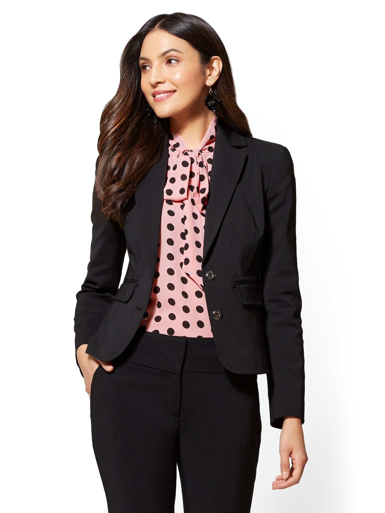 New York & Co. 7Th Avenue - Petite Topstitched Two-Button 8 Black