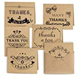 Kuuqa 36 Pcs 6 Designs Thank You Note Cards Valentine's Greeting Gift Cards with Envelopes and Stickers For Thanksgiving Day Valentine's Day Holiday Greeting