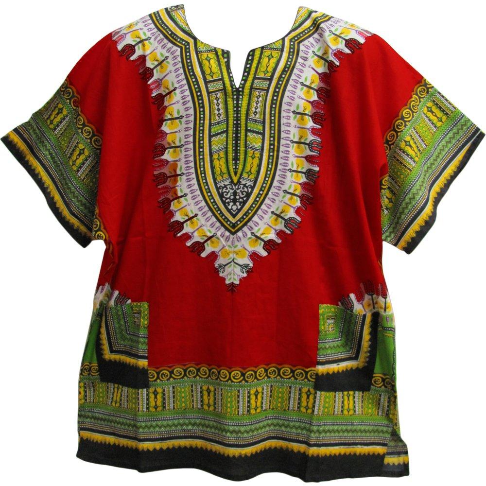 Crystal Unisex African Ethnic Dashiki Two Pocket Indian Cotton Tunic Shirt