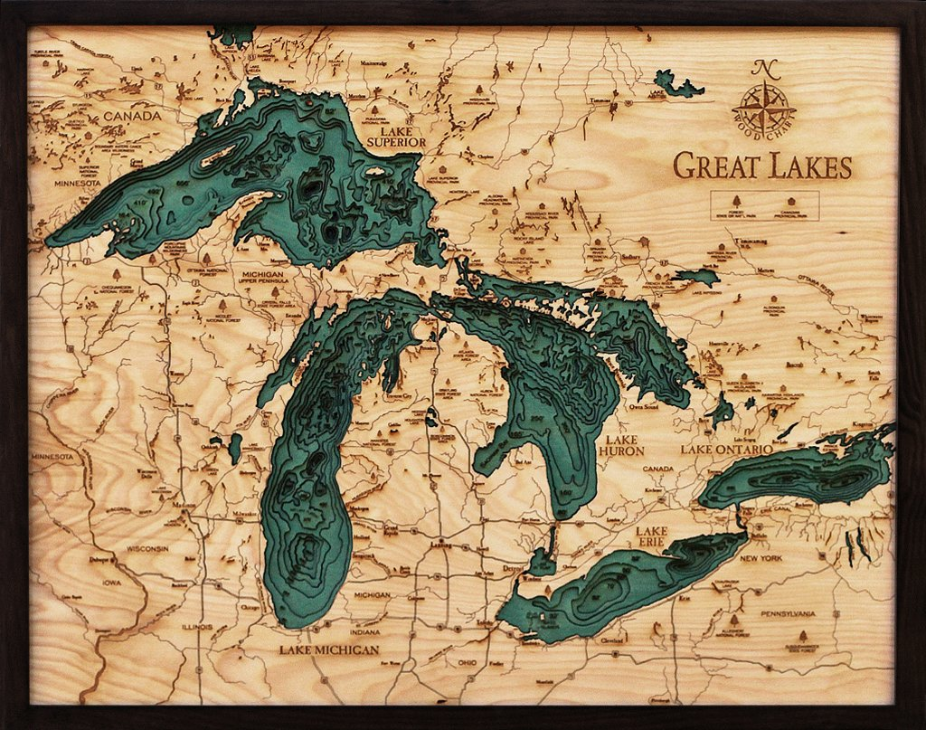Great Lakes 3-D Nautical Wood Chart, 24.5'' x 31''