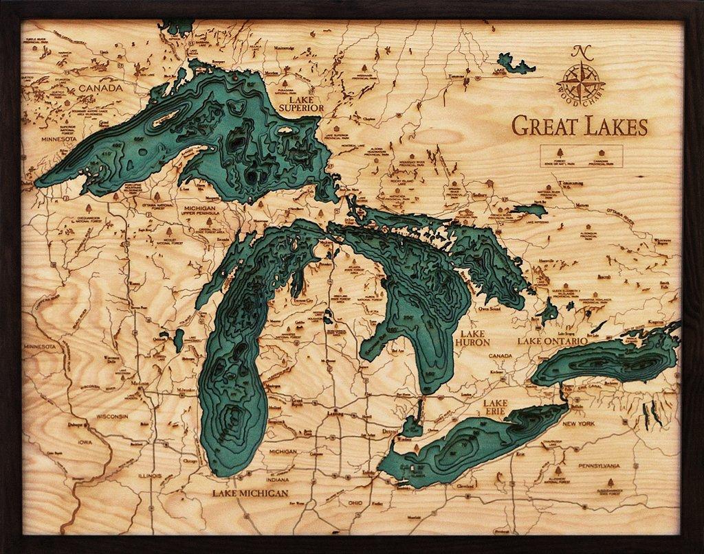 Great Lakes 3-D Nautical Wood Chart, 24.5'' x 31'' by Woodchart