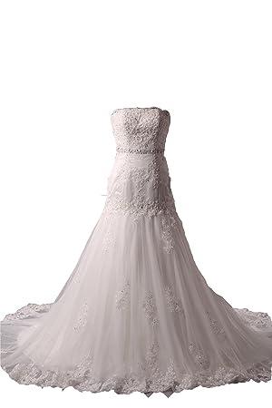 Vestido de novia de tul sin tirantes elegante (blanco)
