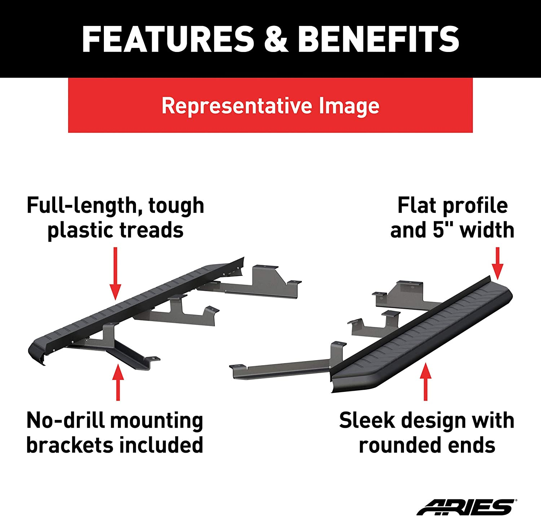 ARIES 2061041 AeroTread 73-Inch Black Stainless Steel SUV Running Boards Select Chevrolet Blazer