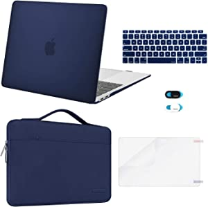 MOSISO MacBook Air 13 inch Case 2020 2019 2018 Release A2337 M1 A2179 A1932,Plastic Hard Case&Bag&Keyboard Skin&Webcam Cover&Screen Protector Compatible with MacBook Air 13 inch Retina, Navy Blue