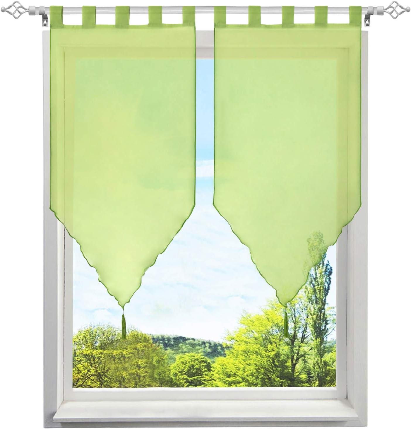 BAILEY JO 2 Pi/èces Rideaux Voilages Brise-bises Transparent LxH//45x90CM Couleur Uni avec Pompon D/écoration de fen/être Chambre Cuisine Caf/é Beige-Pattes
