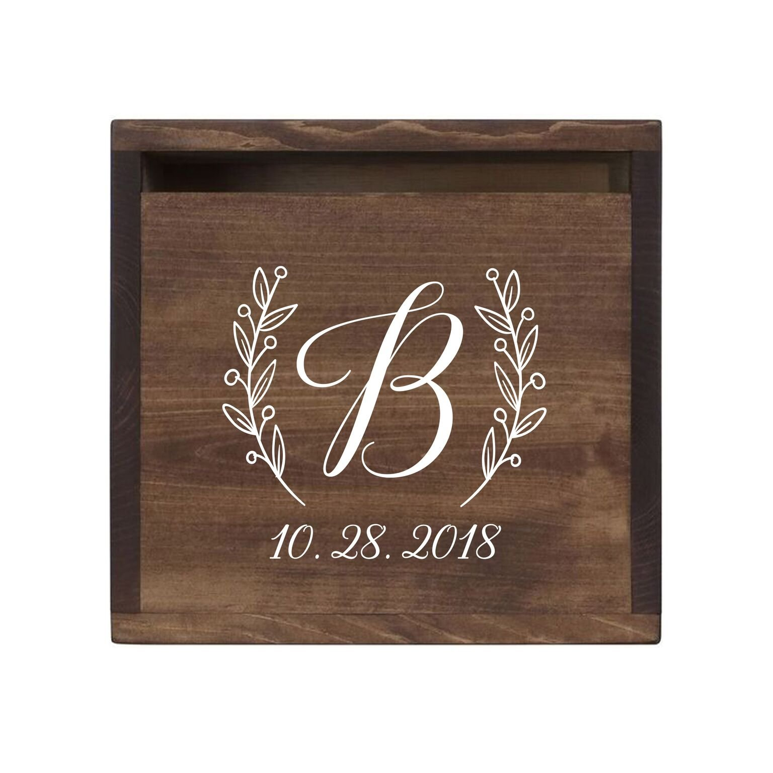 LifeSong Milestones Personalized Initial Rustic Wooden Wedding Card Box Custom Card Holder with Front Slot for Newlyweds Couples Reception 13.5'' L x 12'' W x 12.5'' T (Walnut)