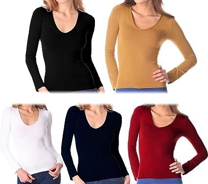 VKA25 Pack de 5 camisetas térmicas interior de felpa ass. Luna cuello en V mujer - M-L: Amazon.es: Ropa y accesorios