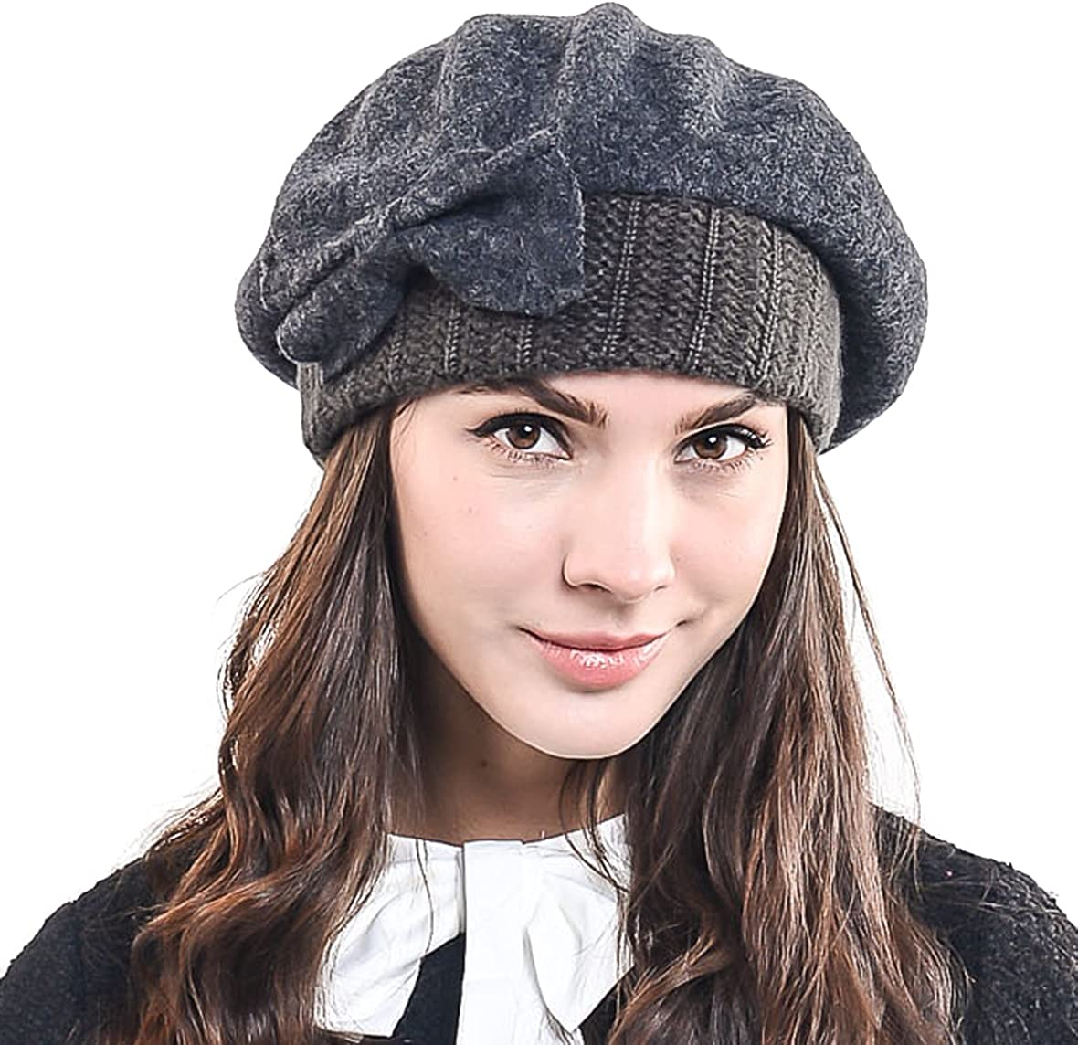 Lady French Beret Wool Beret Chic Beanie Winter Hat with Bow