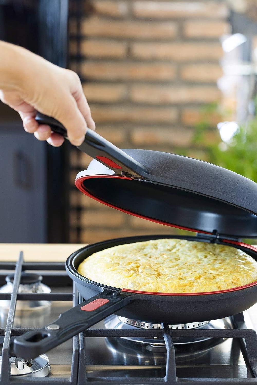 BRA Dupla Première Sartén Doble para tortilla apta para todo tipo de cocinas incluida inducción, con diámetro 24 cm, incluye recetario de regalo, ...