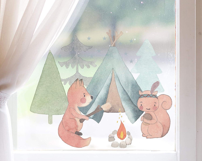 TinyFoxes Fensterbild Waldspaziergang Niedliche Kinderzimmerdeko zum Wiederverwenden