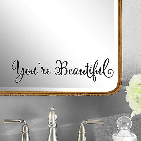 YOU/'RE BEAUTIFUL rl vinyl wall decal sticker bathroom mirror inspirational art Free Shipping