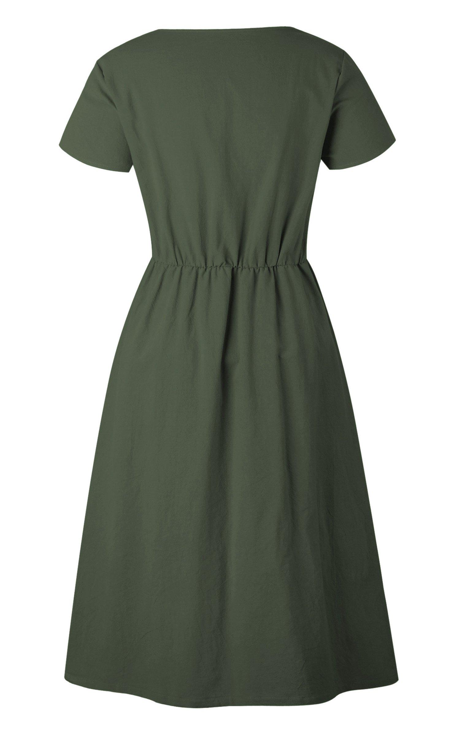 Angashion Women's Dresses-Short Sleeve V Neck Button T Shirt Midi Skater Dress with Pockets by Angashion (Image #6)