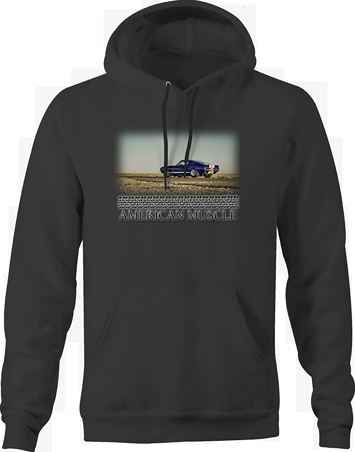 Bold Imprints American Muscle Blue White GT500 Racing Muscle Car Graphic Hoodie for Men