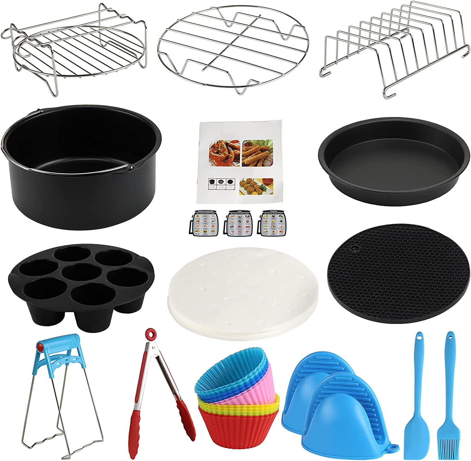 7 Inch XL Air Fryer Accessories, 13Pcs Deep Fryer Accessories with Recipe Cookbook for Phill-ip Nu.wave Go.wise Gou.rmia Ni.nja Dash Air Fryer Fits All3.2QT - 5.8QT Air Fryer