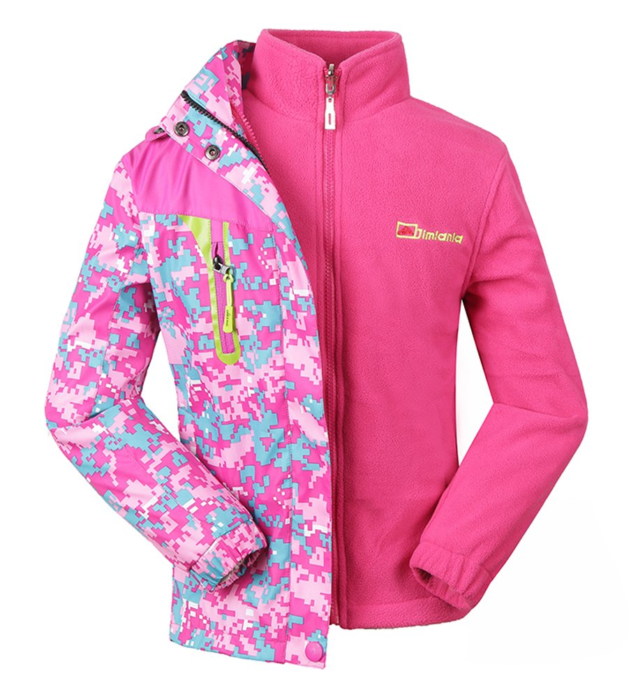 Roseate Girls 3-in-1 Jacket with Fleece Liner Outdoor Winter Outerwear Pink (8, Pink w/Fleece Liner)