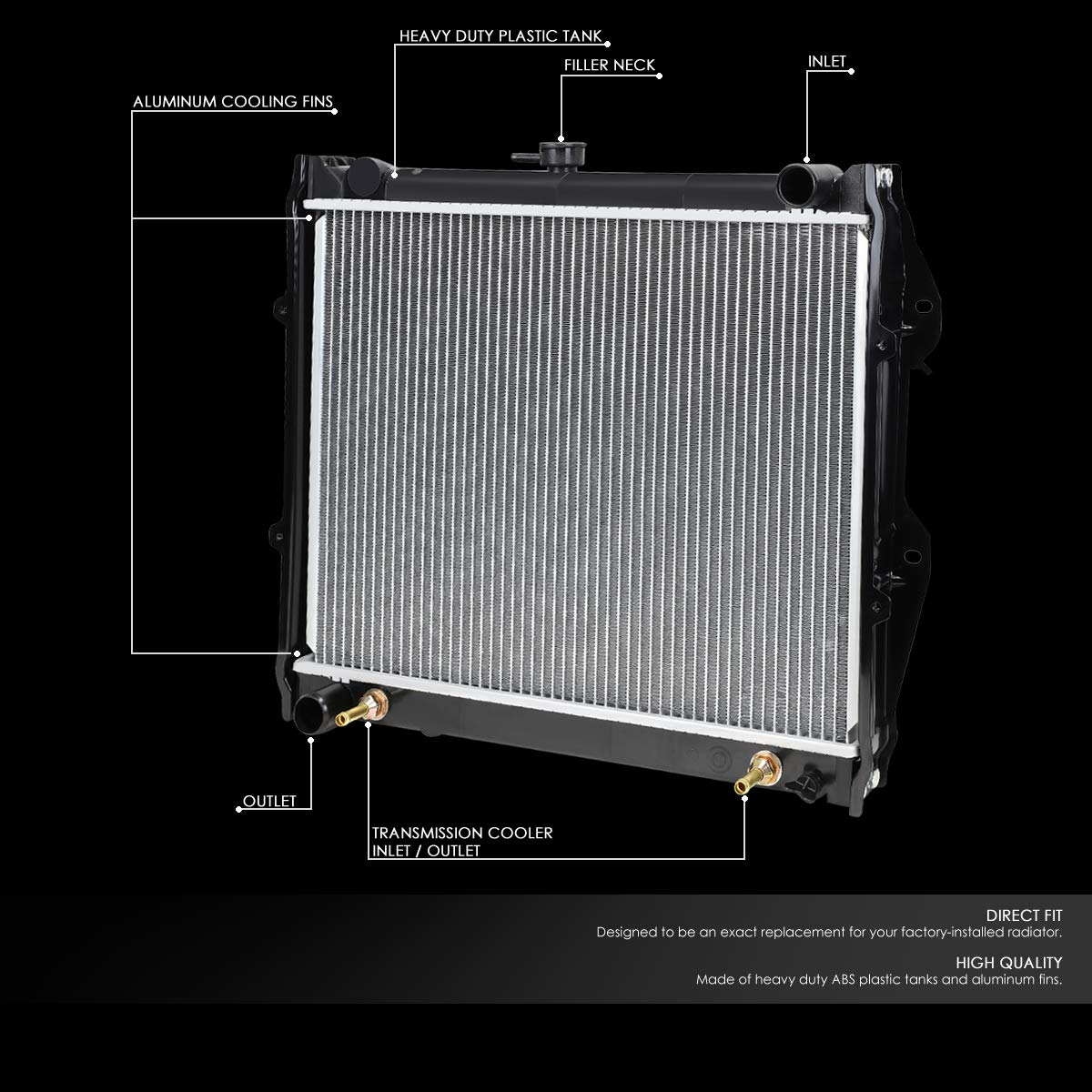 DPI 945 OE Style Aluminum Core High Flow Radiator For 84-95 4Runner//Pickup 2.4L AT//MT