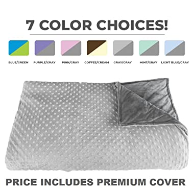 Premium Weighted Blanket, Perfect Size 60  x 80  and Weight (12lb) for Adults and Children. Deluxe CALMFORTER(tm) Blanket. Price Includes Cover!