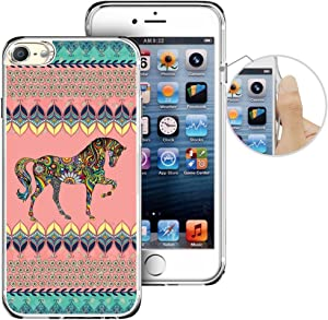 for iPod Touch 6th Case, LAACO Beautiful Clear TPU Case Rubber Silicone Skin Cover for Apple iTouch 6 - Aztec Horse