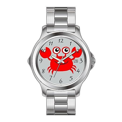 FDC - Navidad regalo relojes hombre Fashion FECHA acero inoxidable reloj de pulsera de cuarzo japonés dibujos animados feliz cangrejo: Amazon.es: Relojes