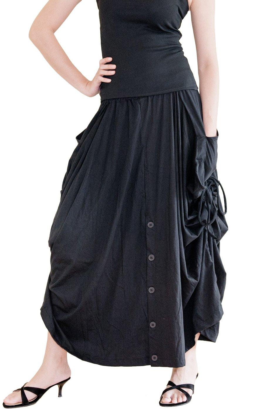 BohoHill Convertible Maxi Skirt Pants Cotton Jersey Versatile Skirt (Black)