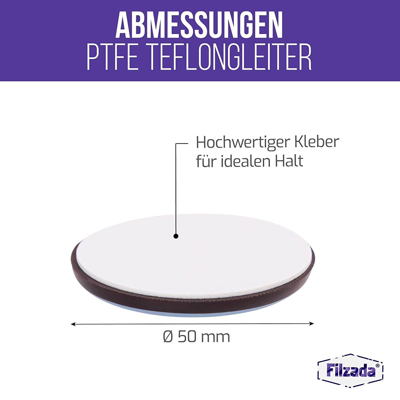 Filzada/® 16x Teflongleiter Selbstklebend -/Ø 50 mm rund Teflon - Profi M/öbelgleiter//Teppichgleiter PTFE