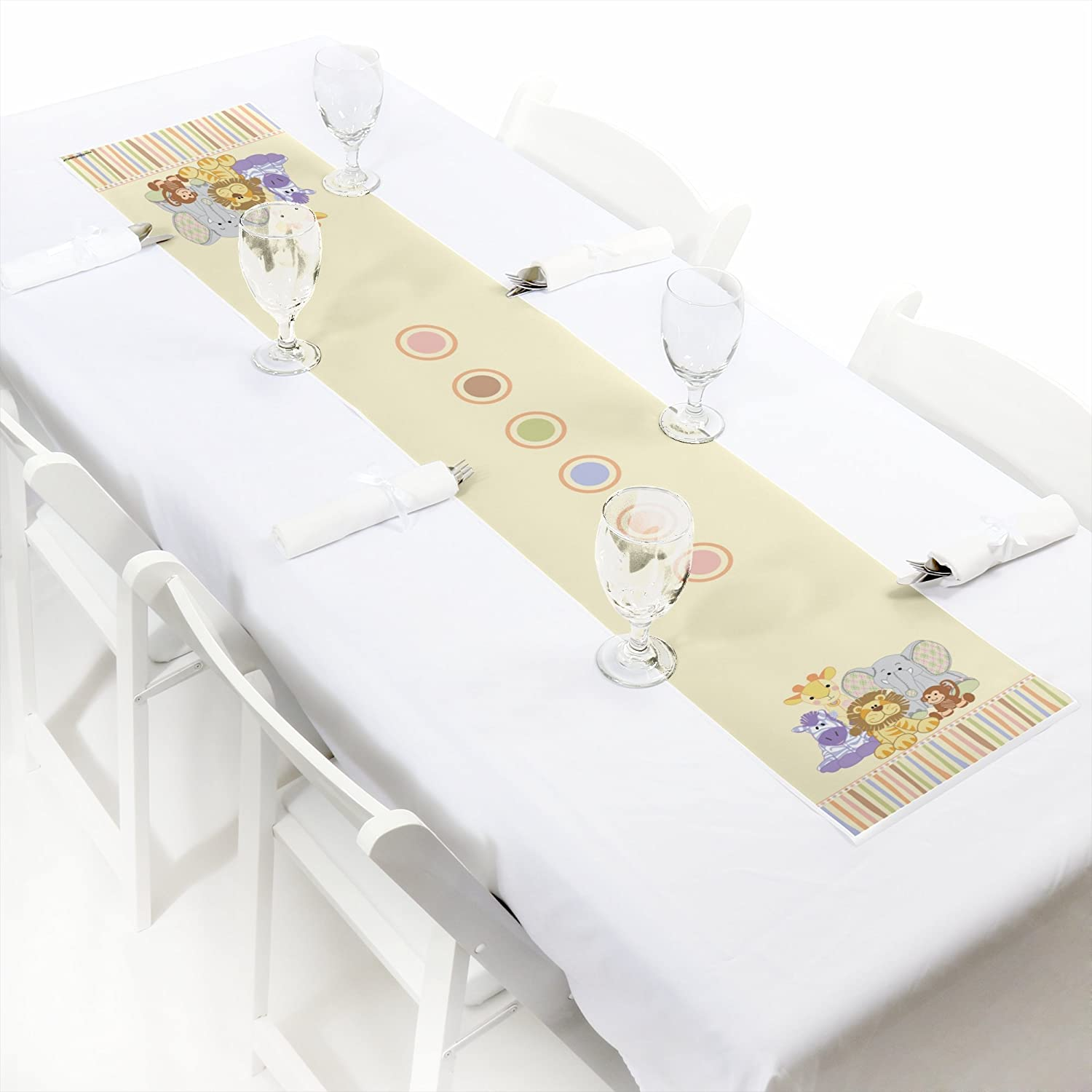 12 x 60 Big Dot of Happiness Zoo Crew Petite Zoo Animals Baby Shower or Birthday Party Paper Table Runner
