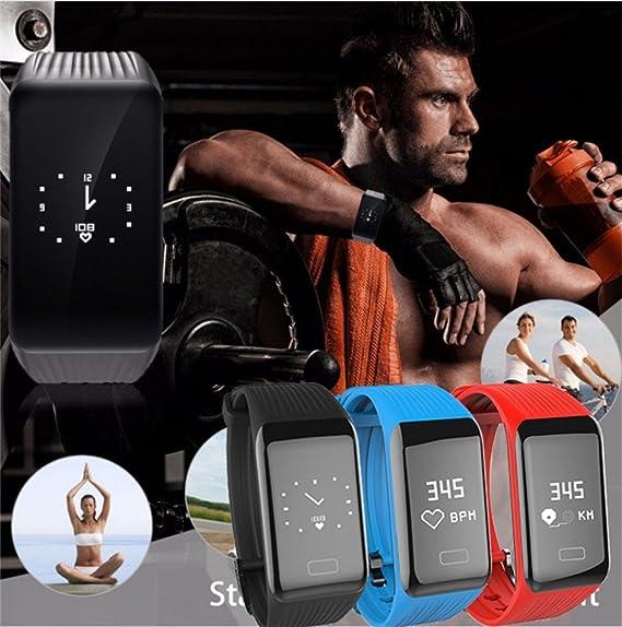 lclrute Mode Alta Calidad Y1 Fitness Tensiómetro Pulsómetro De Oxígeno Smart Watch banda de pulsera, rojo: Amazon.es: Deportes y aire libre