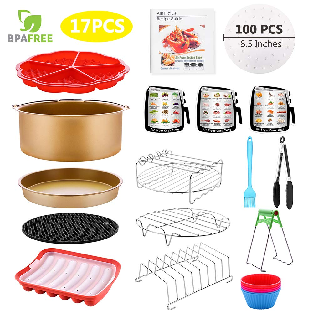 Air Fryer Accessories for 5.3, 5.5, 5.8, 6 Qt,17 PCS for GoWISE Ninja COSORI Cozyna Philips Air Fryer Fryer Liners (100PCS) and Cookbook Dishwasher Safe BPA Free, Matte Gold