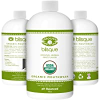 Blisque Organic Mouthwash *New Improved Formula* - 1 Bottle - with Aloe Vera, Clove...