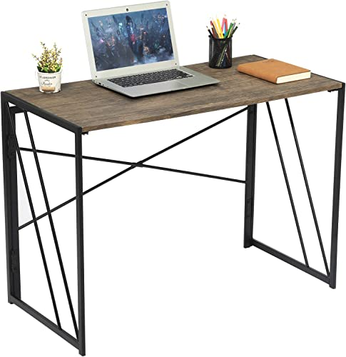 Aingoo No Assembly Folding Computer Writing Desk Industrial Style Home Office Study Laptop Gaming Table for Small Space Brown